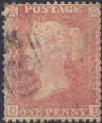1857 1d Red C9(4) Plate 47 'OD'